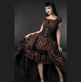 Brown Black Striped Long Bustle 3 Layer Victorian Goth Steampunk Skirt