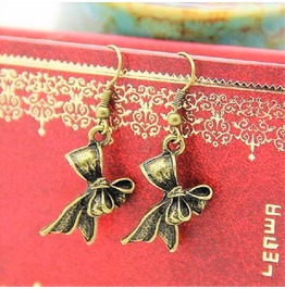 Retro Vintage Antique Bronze Rose Flower Bowtie Butterfly Hook Earrings
