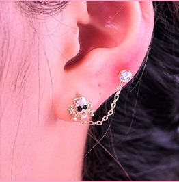 Punk Rock Gold Plated Crystal Skull Double Piercing Chain Stud Earrings