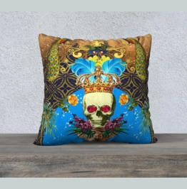 Large Vintage Skull With Crown & Feathers Large Velveteen Cushion Cover