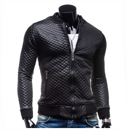 Faux Leather Bomber Jacket Mens Autumn Outerwear
