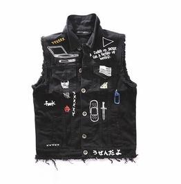 Mens Punk Denim Jacket Vests Black