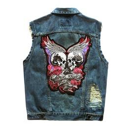 Lethal Angel Vintage Style S Kull Embroidery Mens Vest Jacket Denim