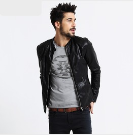 Stylish Mens Faux Leather Motorcycle Jacket Outerwear
