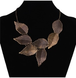 Fashion Retro Metal Bronze Vintage Falling Leaves Statement Choker Necklace