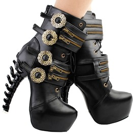 Bones Skeleton High Heel Punk Steampunk Zipper Platform Ankle Boots Black