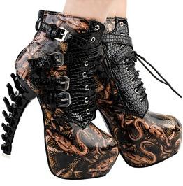 Punk Pu Leather Snakes Pattern Bone High Heel Platform Ankle Boots Women