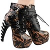 Punk Pu Leather Snakes Pattern Bone High Heel Platform Ankle Boots Women