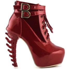 Punk Lace Up Buckle Bones High Heel Platform Pu Leather Ankle Boots Women