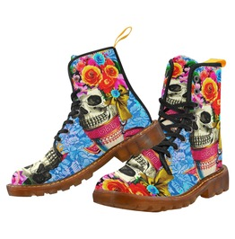 Vintage Skull In A Tea Cup With Flowers Canvas Combat Boot