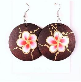 Handmade African Bohemian Painted Flower Wooden Round Circle Hoop Earrings