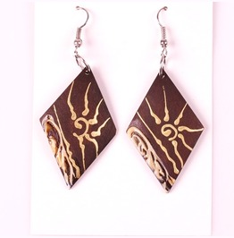African Egyptian Winged Sun Painted Design Wooden Rand Pyramid Earrings
