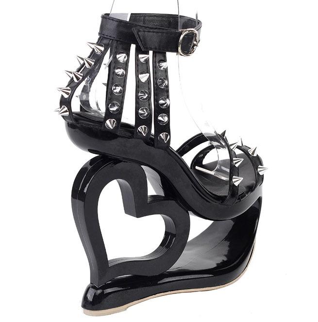 3426d496040 Heart Wedge Heel Rivets Spikes Punk Rock Strappy Sandals