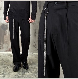 O Ring Metal Chain Attached Loose Pants 156