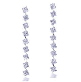 Elegant Silver Plated Clear Crystal Rhinestone Bridal Long Drop Earrings