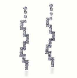 Elegant Silver Plated Clear Crystal Rhinestone Bridal Long Swirl Earrings