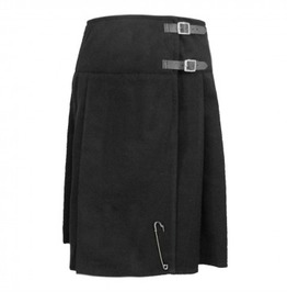 Goth Women's Soft Wool Blend Tartan Kilted Black Skirt Custom Size