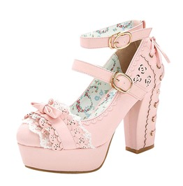 Lace Up Design Square High Heels Princess Lace Bow Tie Lolita Shoes