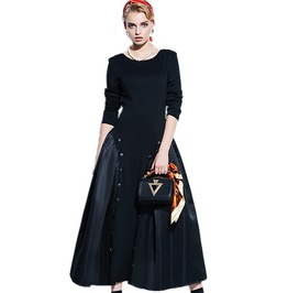Gothic Vintage Button A Line Black Ball Gown Long Dress