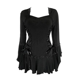 Gothic Vintage Lace Up Flare Sleeves And Hem Slim Patchwork Top