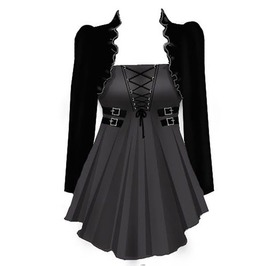 Goth Black Square Collar Medieval Corset Laced Top And Bolero