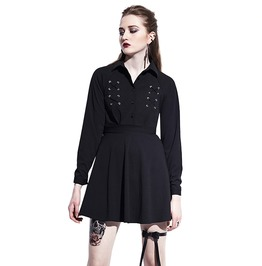 Above Knee Lantern Sleeve A Line Lace Up Button Lapel Gothic Mini Dress
