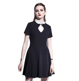 Hollow Out Back Pentagram Short Sleeve Goth Mini Dress