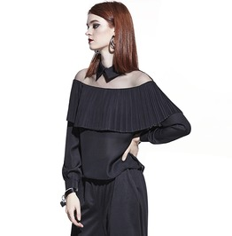 Off Shoulder Chiffon Black Loose Pleated Mesh Gothic Top Women