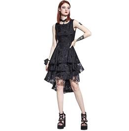 Asymmetrical Black Hollow Lace Floral Gothic Dress