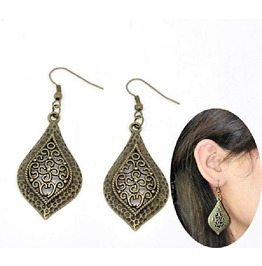 Handmade Vintage Antiqued Bronze Filigree Leaf Flower Drop Earrings