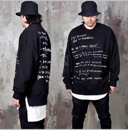 Side Opening Lettering Sweatshirts 782