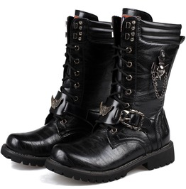 Men's Punk Laced Up Faux Leather Military Combat Boots