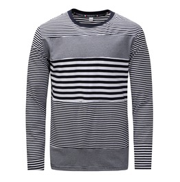 Men's Stripes Printed Colorblock Long Sleeve T Shirt
