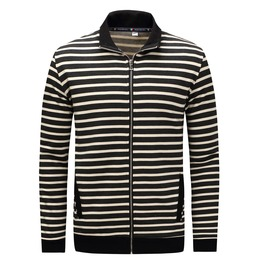 Men's Stripe Slim Fitted Zipper Bomber Jacket