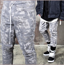 Camouflage Drawcord Banding Taper Pants 157