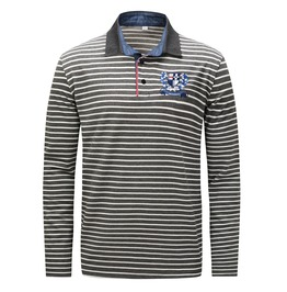 Men's Embroideried Stripe Slim Fitted Polo Shirt