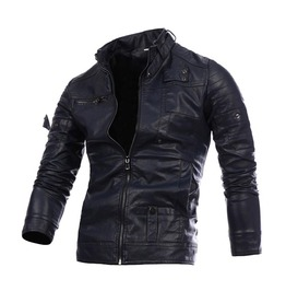 Men's Stand Collar Slim Fitted Faux Leather Motor Jacket