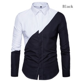 Men's Black And White Contrast Slim Fitted Shirt