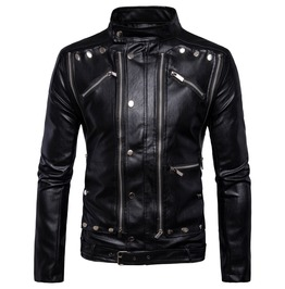 Men's Multi Zipper Slim Fitted Faux Leather Jacket