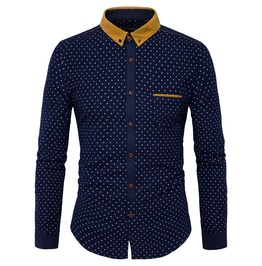 Men's Dots Printed Contrast Collar Slim Fitted Shirt
