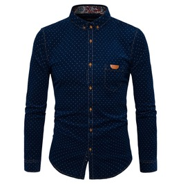 Men's Dots Printed Button Down Slim Fitted Shirt