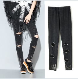 Women's Punk Rivet Deco Ripped Slim Fitted Leggings