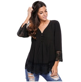 Women's V Neck Ruched Lace Colorblock Chiffon Tops