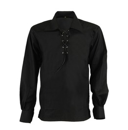 Casual Black Gothic Full Sleeve Cotton Shirt In Loose Fit