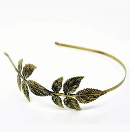 Vintage Handmade Antiqued Bronze Filigree Leaves Flower Metal Headband