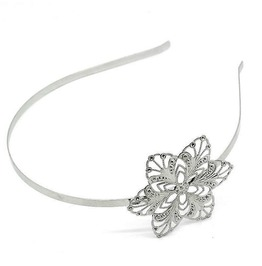 Vintage Handmade Silver Tone Plated Metal Filigree Pad Flower Headband