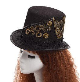 Women Men Steampunk Butterfly Vintage Mechanical Gear Black Top Hat