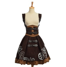 Lolita Embroidered Victorian Steampunk Lace Up Corset Suspender Dress