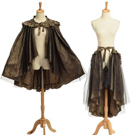 Steampunk Victorian Goth Ruffles Chartreuse Sarong Bustle Skirt / Cape