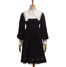 Long Sleeve Cross Embroidery Detachable Lace Collar Goth Lolita Dress